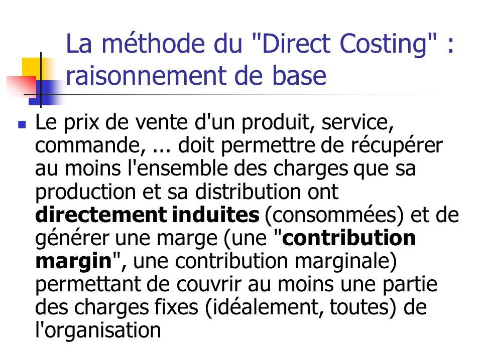 La méthode du Direct Costing : raisonnement de base Le prix de vente d un produit, service, commande,...
