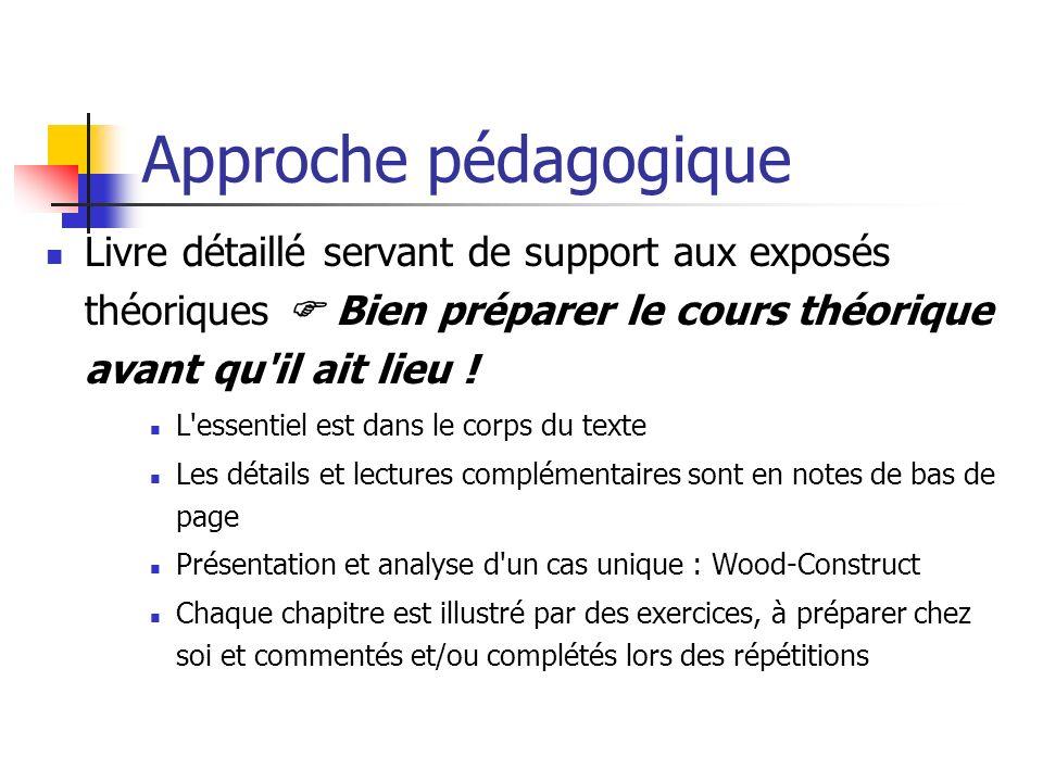 Approche pédagogique Livre détaillé servant de support aux exposés théoriques Bien préparer le cours théorique avant qu il ait lieu .