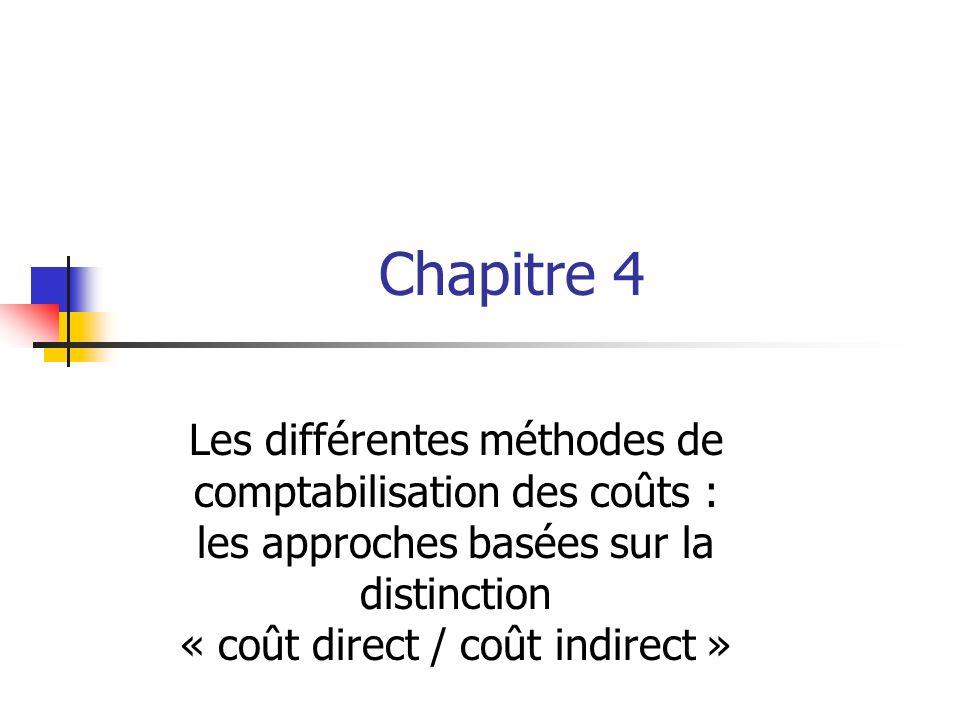 Chapitre 4 Les différentes méthodes de comptabilisation des coûts : les approches basées sur la distinction « coût direct / coût indirect »