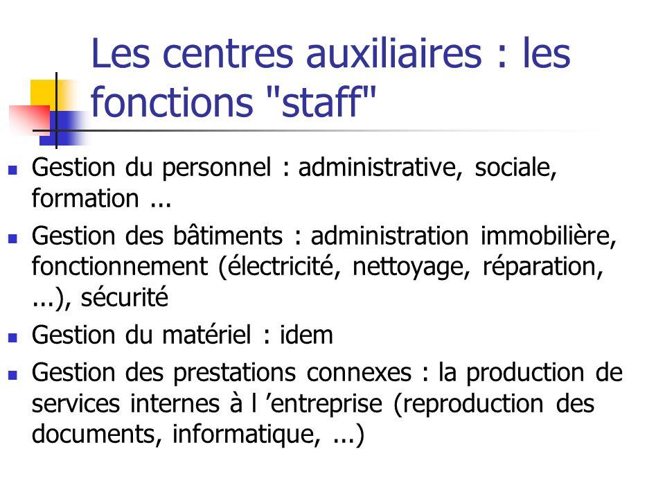 Les centres auxiliaires : les fonctions staff Gestion du personnel : administrative, sociale, formation...
