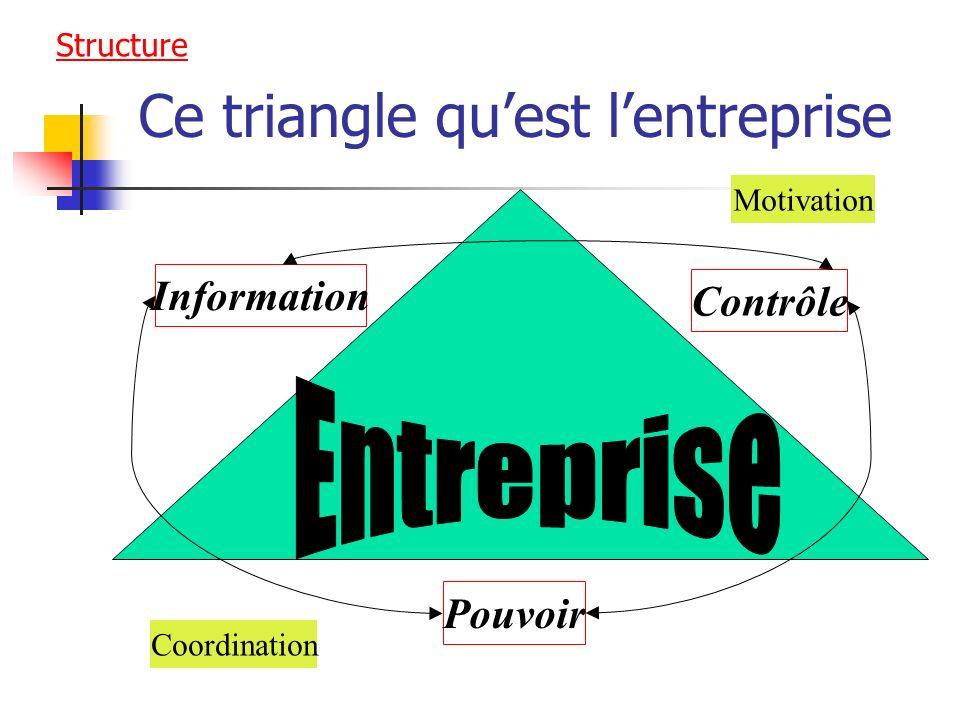 Ce triangle quest lentreprise Pouvoir Information Contrôle Coordination Motivation Structure