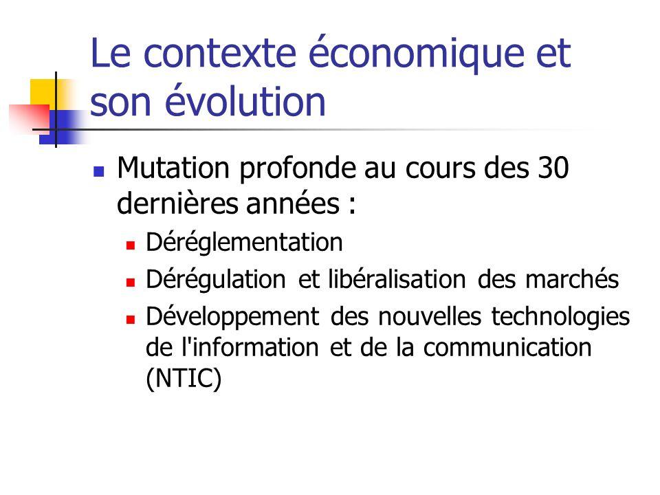 Le contexte économique et son évolution Mutation profonde au cours des 30 dernières années : Déréglementation Dérégulation et libéralisation des marchés Développement des nouvelles technologies de l information et de la communication (NTIC)