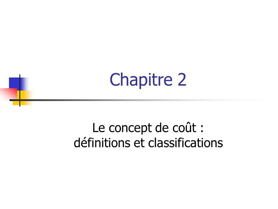 Chapitre 2 Le concept de coût : définitions et classifications