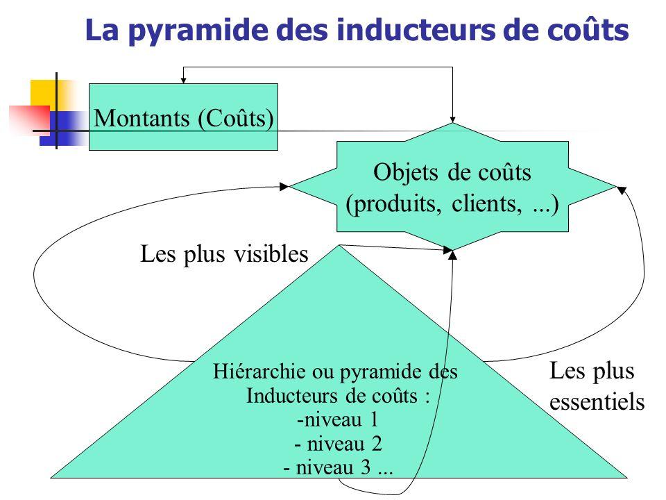 La pyramide des inducteurs de coûts Montants (Coûts) Objets de coûts (produits, clients,...) Hiérarchie ou pyramide des Inducteurs de coûts : -niveau 1 - niveau 2 - niveau 3...