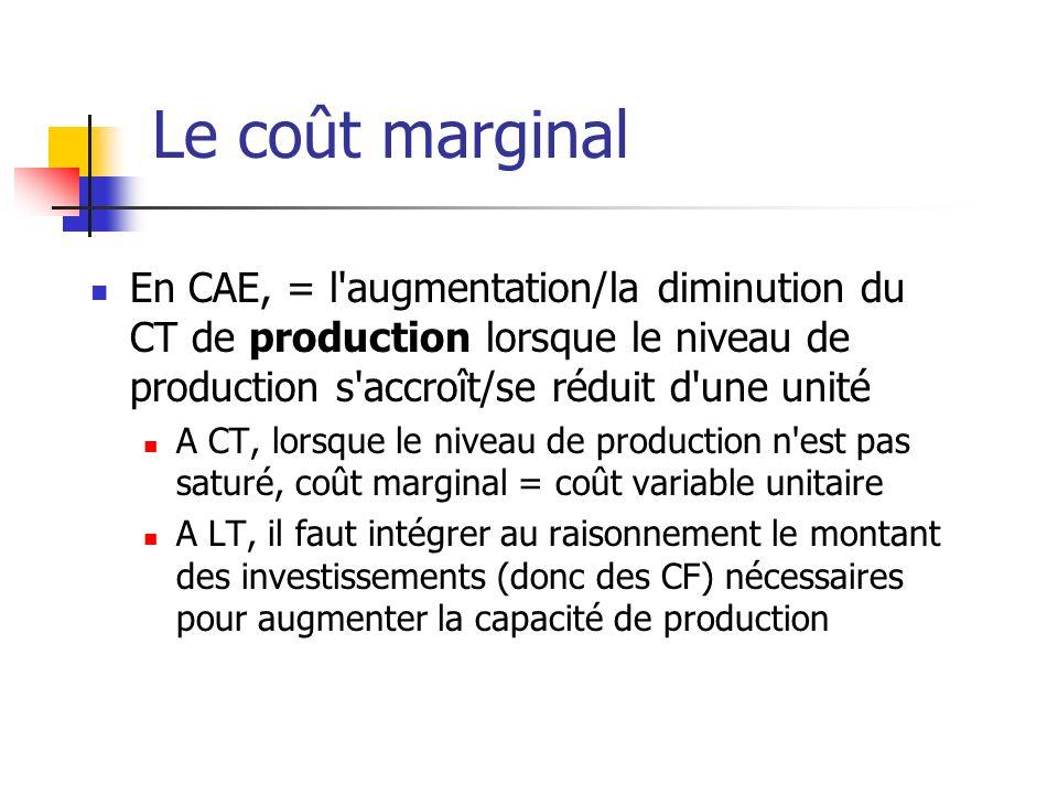 Le coût marginal En CAE, = l augmentation/la diminution du CT de production lorsque le niveau de production s accroît/se réduit d une unité A CT, lorsque le niveau de production n est pas saturé, coût marginal = coût variable unitaire A LT, il faut intégrer au raisonnement le montant des investissements (donc des CF) nécessaires pour augmenter la capacité de production