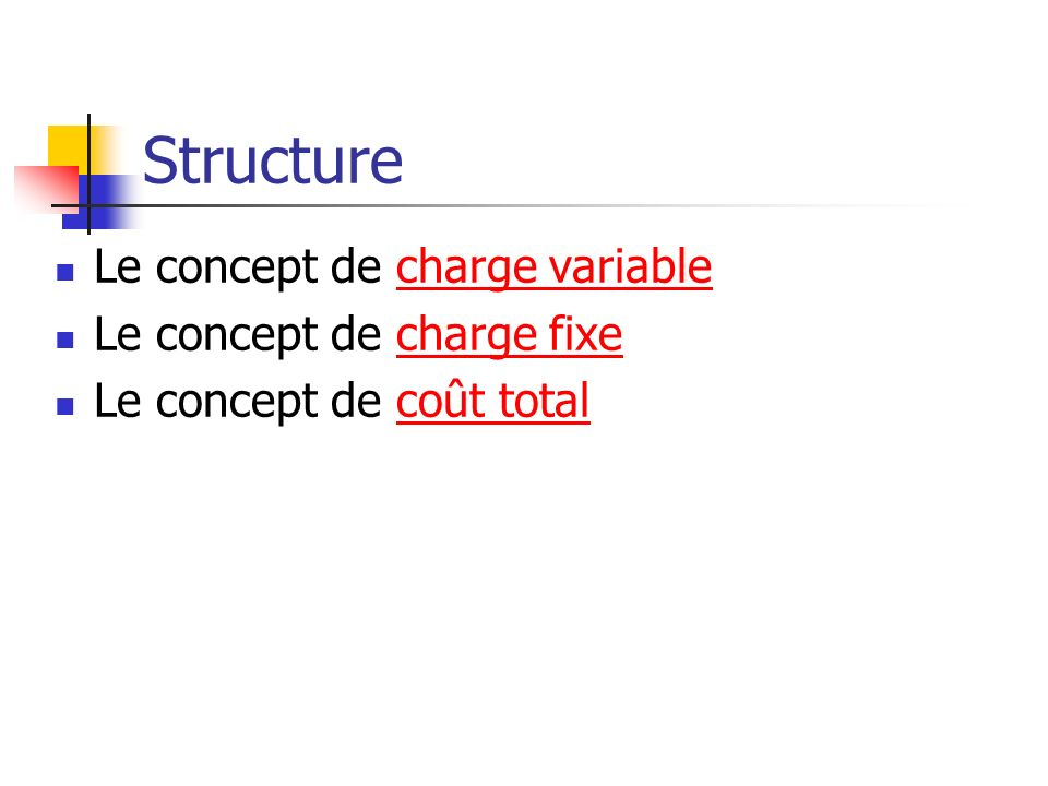 Structure Le concept de charge variablecharge variable Le concept de charge fixecharge fixe Le concept de coût totalcoût total