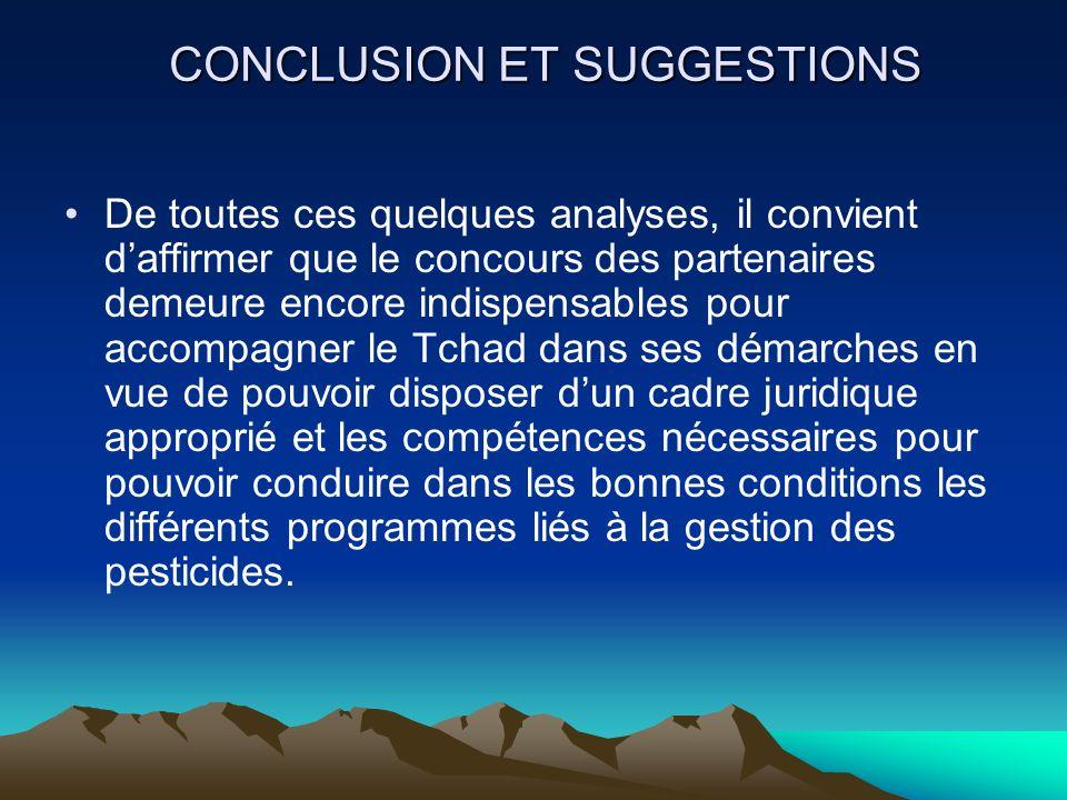 CONCLUSION ET SUGGESTIONS De toutes ces quelques analyses, il convient daffirmer que le concours des partenaires demeure encore indispensables pour ac