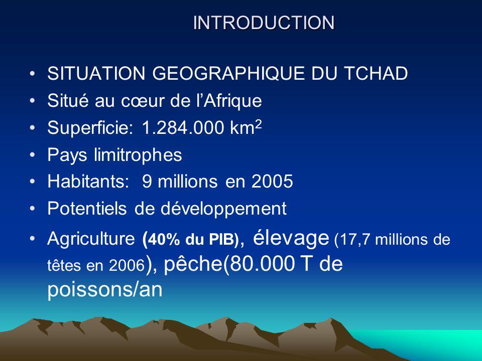 INTRODUCTION SITUATION GEOGRAPHIQUE DU TCHAD Situé au cœur de lAfrique Superficie: 1.284.000 km 2 Pays limitrophes Habitants: 9 millions en 2005 Poten