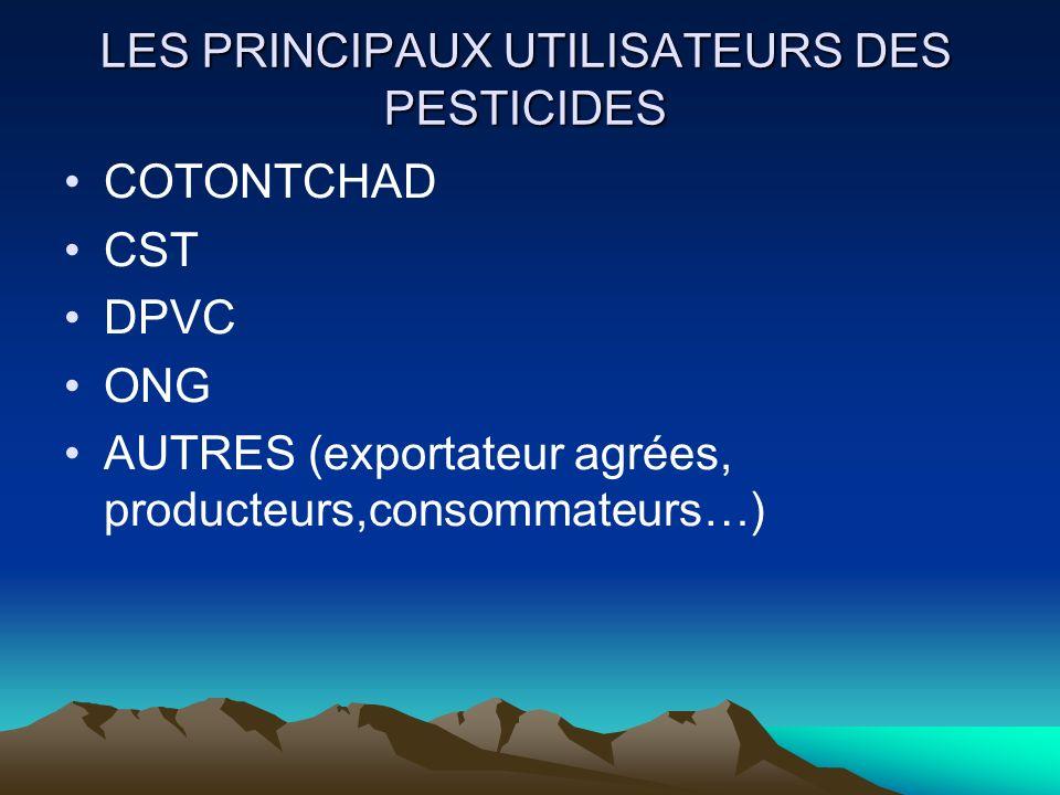 LES PRINCIPAUX UTILISATEURS DES PESTICIDES COTONTCHAD CST DPVC ONG AUTRES (exportateur agrées, producteurs,consommateurs…)