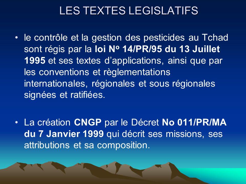 LES TEXTES LEGISLATIFS le contrôle et la gestion des pesticides au Tchad sont régis par la loi N o 14/PR/95 du 13 Juillet 1995 et ses textes dapplicat