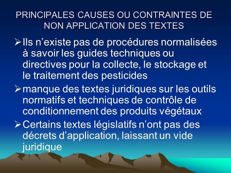 PRINCIPALES CAUSES OU CONTRAINTES DE NON APPLICATION DES TEXTES Ils nexiste pas de procédures normalisées à savoir les guides techniques ou directives