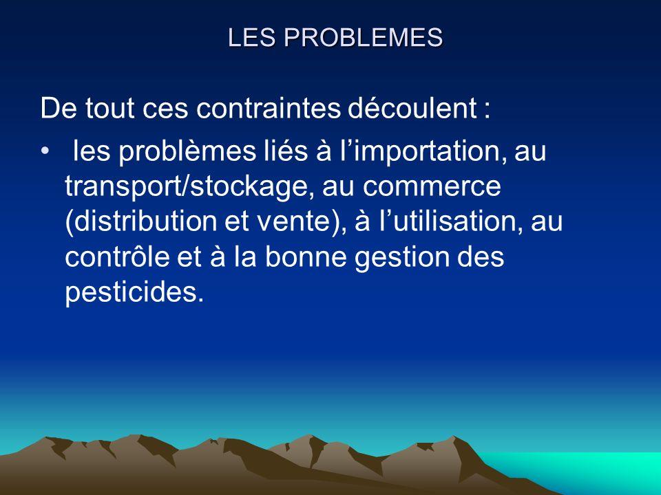 LES PROBLEMES De tout ces contraintes découlent : les problèmes liés à limportation, au transport/stockage, au commerce (distribution et vente), à lut