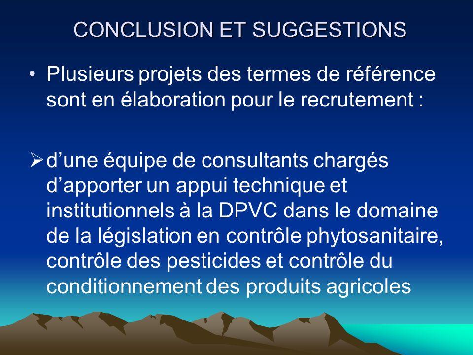 CONCLUSION ET SUGGESTIONS Plusieurs projets des termes de référence sont en élaboration pour le recrutement : dune équipe de consultants chargés dappo