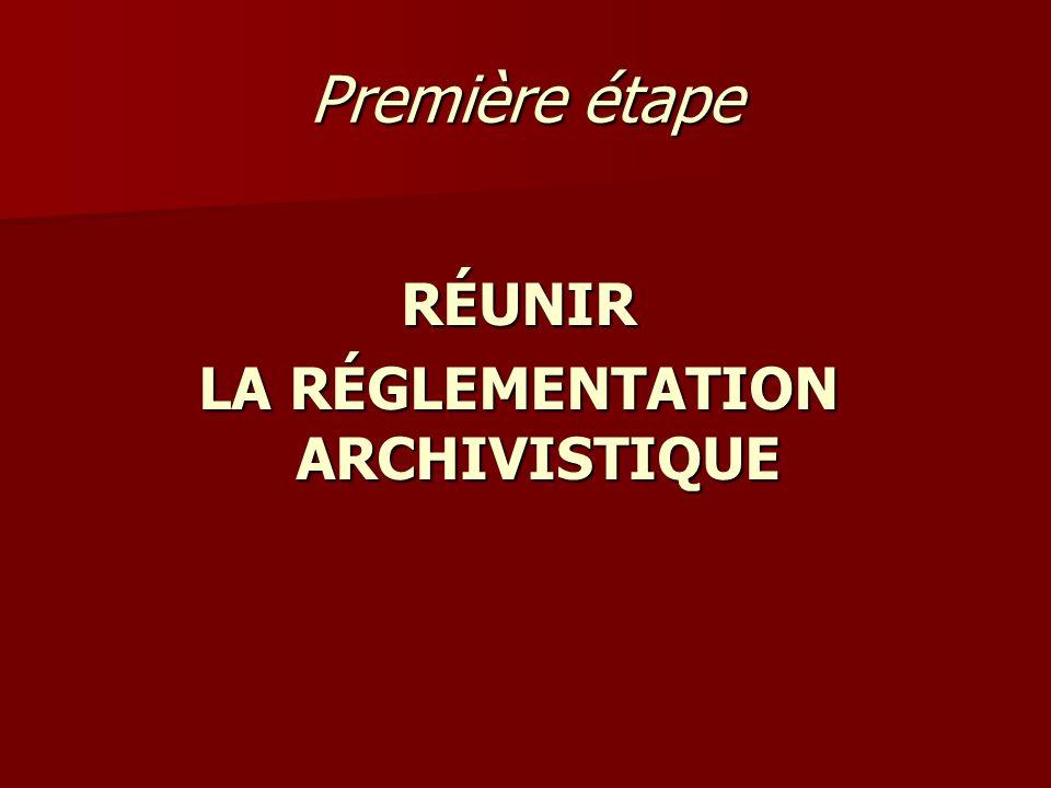 Première étape RÉUNIR LA RÉGLEMENTATION ARCHIVISTIQUE