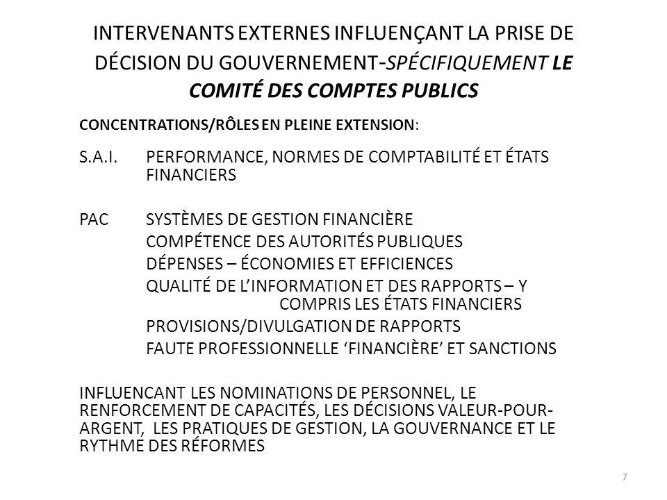 INTERVENANTS EXTERNES INFLUENÇANT LA PRISE DE DÉCISION DU GOUVERNEMENT - SPÉCIFIQUEMENT LE COMITÉ DES COMPTES PUBLICS CONCENTRATIONS/RÔLES EN PLEINE EXTENSION: S.A.I.PERFORMANCE, NORMES DE COMPTABILITÉ ET ÉTATS FINANCIERS PACSYSTÈMES DE GESTION FINANCIÈRE COMPÉTENCE DES AUTORITÉS PUBLIQUES DÉPENSES – ÉCONOMIES ET EFFICIENCES QUALITÉ DE LINFORMATION ET DES RAPPORTS – Y COMPRIS LES ÉTATS FINANCIERS PROVISIONS/DIVULGATION DE RAPPORTS FAUTE PROFESSIONNELLE FINANCIÈRE ET SANCTIONS INFLUENCANT LES NOMINATIONS DE PERSONNEL, LE RENFORCEMENT DE CAPACITÉS, LES DÉCISIONS VALEUR-POUR- ARGENT, LES PRATIQUES DE GESTION, LA GOUVERNANCE ET LE RYTHME DES RÉFORMES 7