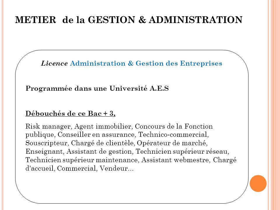 METIER de la GESTION & ADMINISTRATION Licence Administration & Gestion des Entreprises Programmée dans une Université A.E.S Débouchés de ce Bac + 3, R