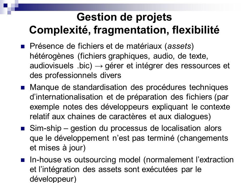 Gestion de projets Complexité, fragmentation, flexibilité Présence de fichiers et de matériaux (assets) hétérogènes (fichiers graphiques, audio, de te