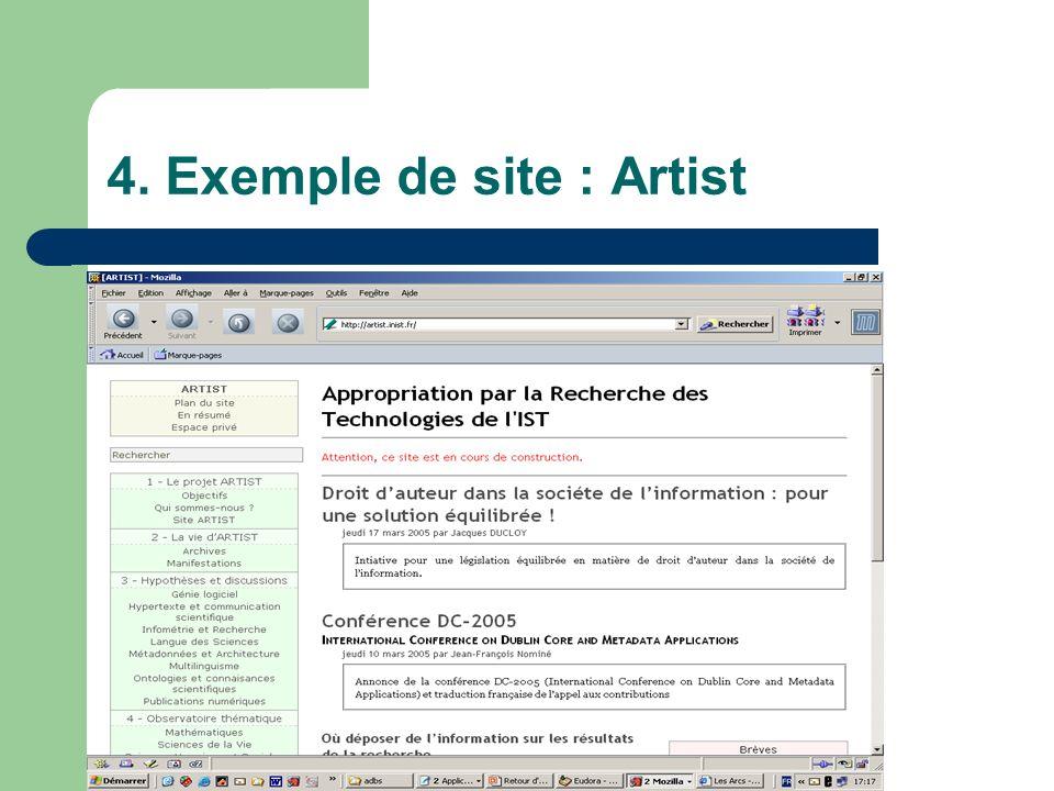4. Exemple de site : Artist