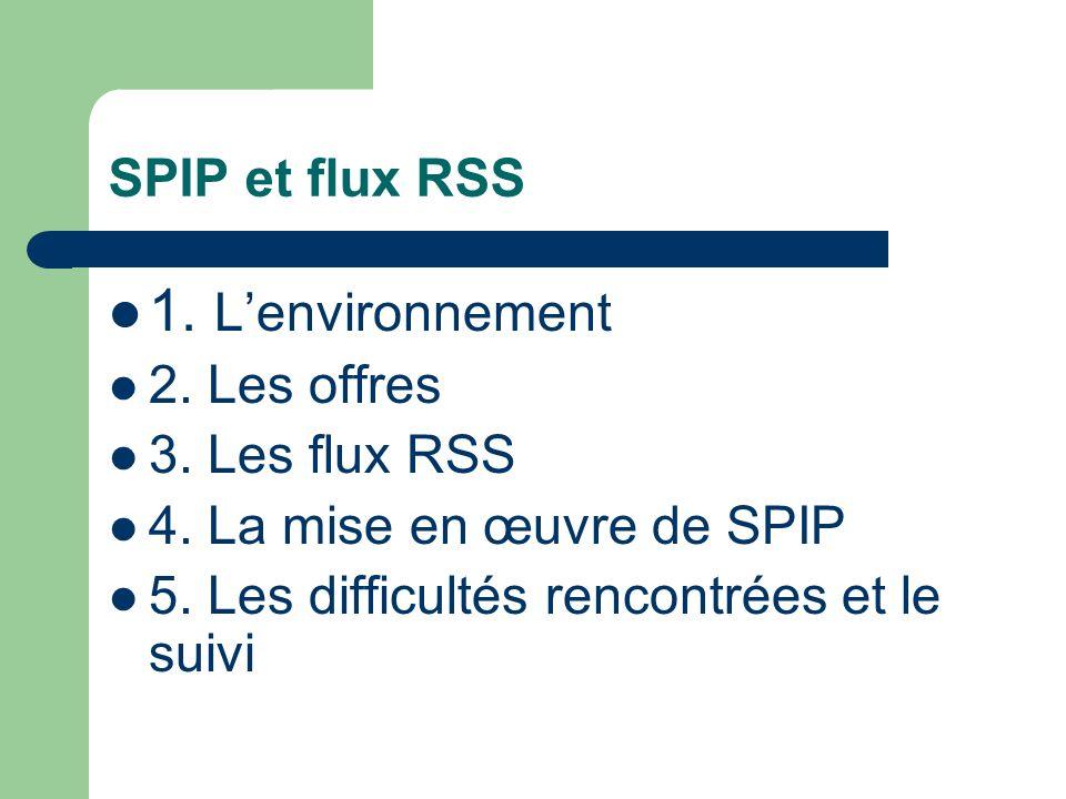 SPIP et flux RSS 1. Lenvironnement 2. Les offres 3.