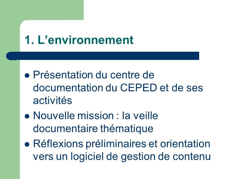 1. Lenvironnement Présentation du centre de documentation du CEPED et de ses activités Nouvelle mission : la veille documentaire thématique Réflexions
