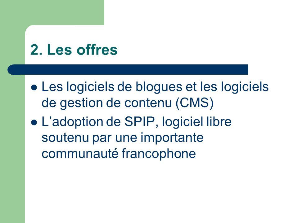 2. Les offres Les logiciels de blogues et les logiciels de gestion de contenu (CMS) Ladoption de SPIP, logiciel libre soutenu par une importante commu