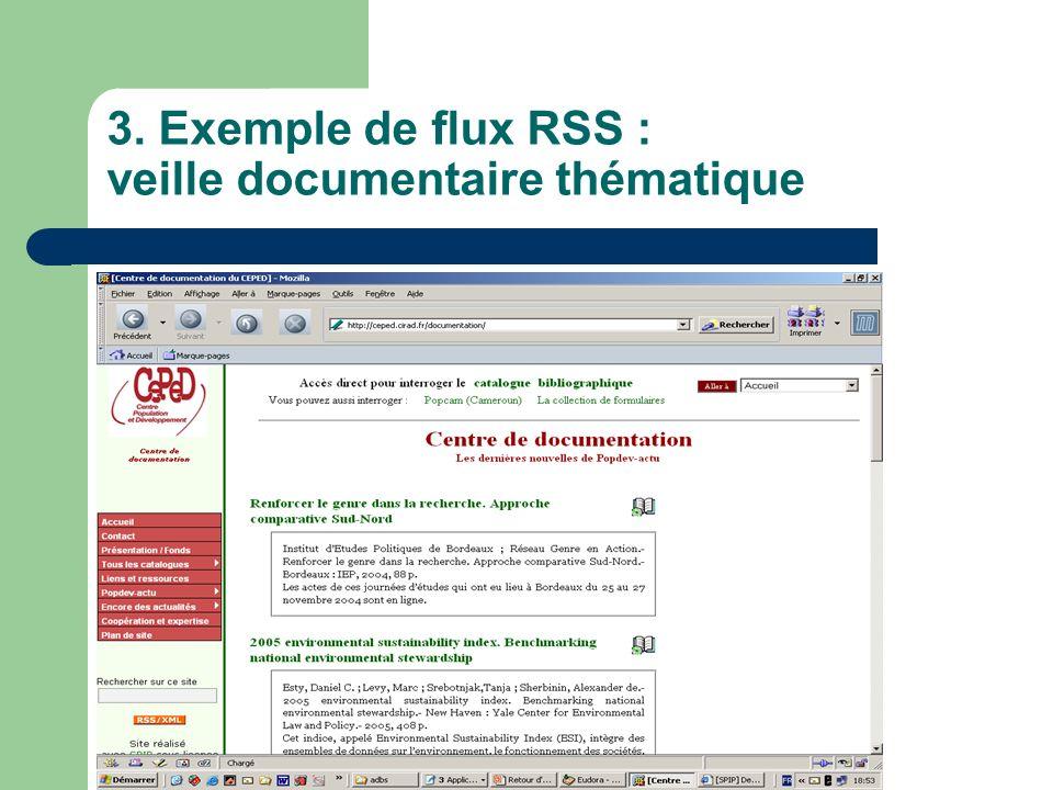 3. Exemple de flux RSS : veille documentaire thématique