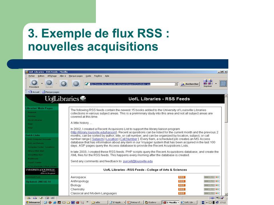 3. Exemple de flux RSS : nouvelles acquisitions