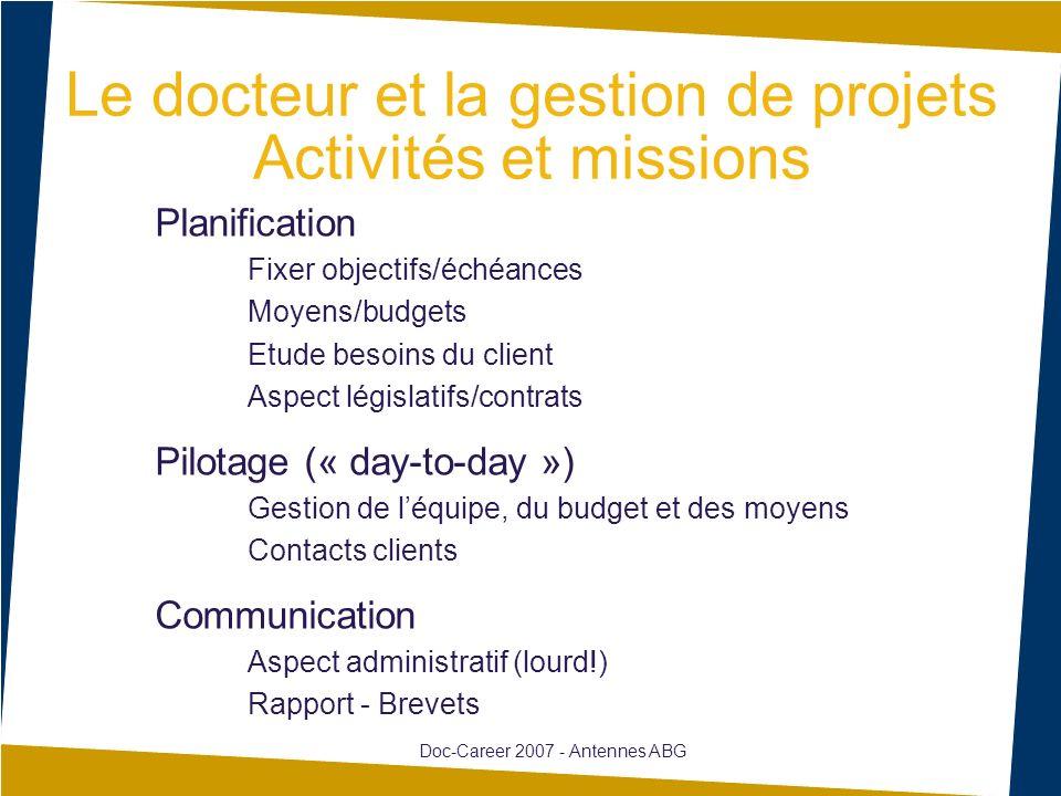 Le docteur et la gestion de projets Activités et missions Planification Fixer objectifs/échéances Moyens/budgets Etude besoins du client Aspect législ