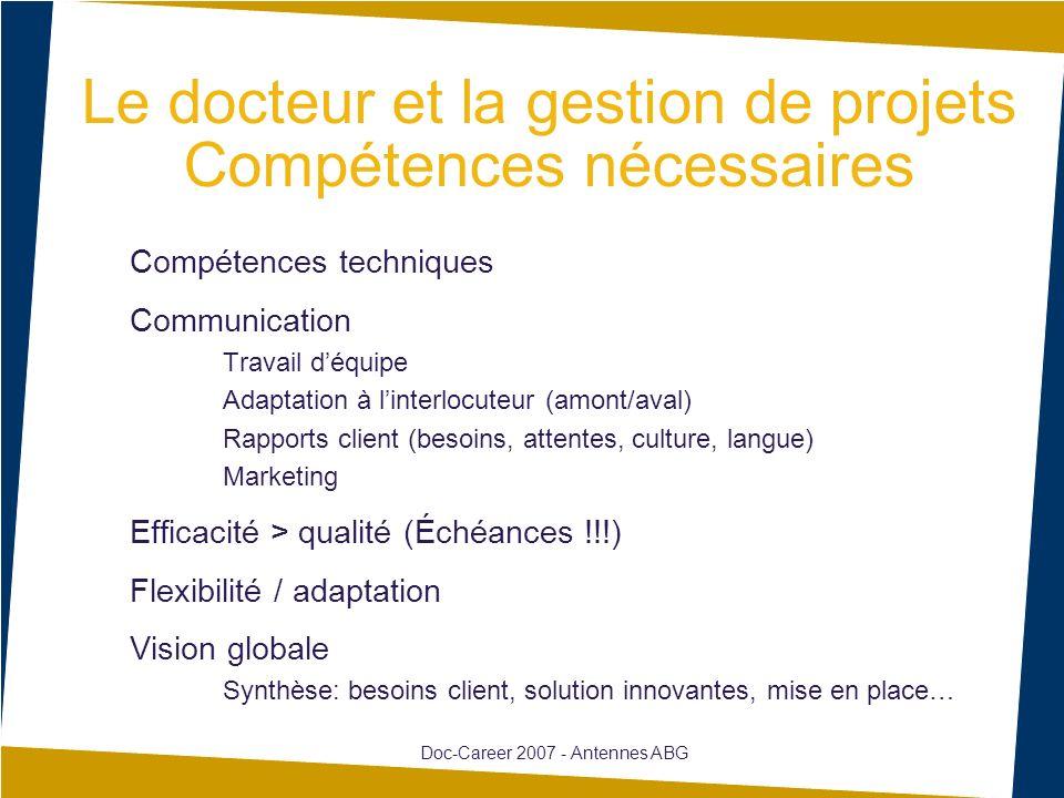 Le docteur et la gestion de projets Compétences nécessaires Compétences techniques Communication Travail déquipe Adaptation à linterlocuteur (amont/av