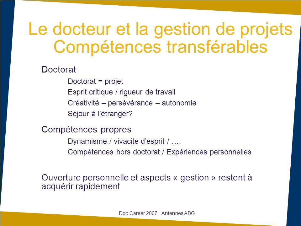 Le docteur et la gestion de projets Compétences transférables Doctorat Doctorat = projet Esprit critique / rigueur de travail Créativité – persévéranc