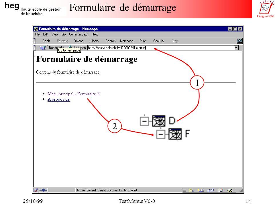 heg Haute école de gestion de Neuchâtel 25/10/99TestMenus V0-014 Formulaire de démarrage 1 2
