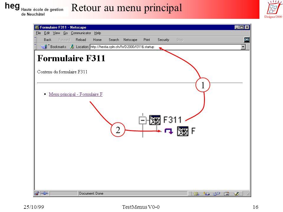 heg Haute école de gestion de Neuchâtel 25/10/99TestMenus V0-016 Retour au menu principal 1 2