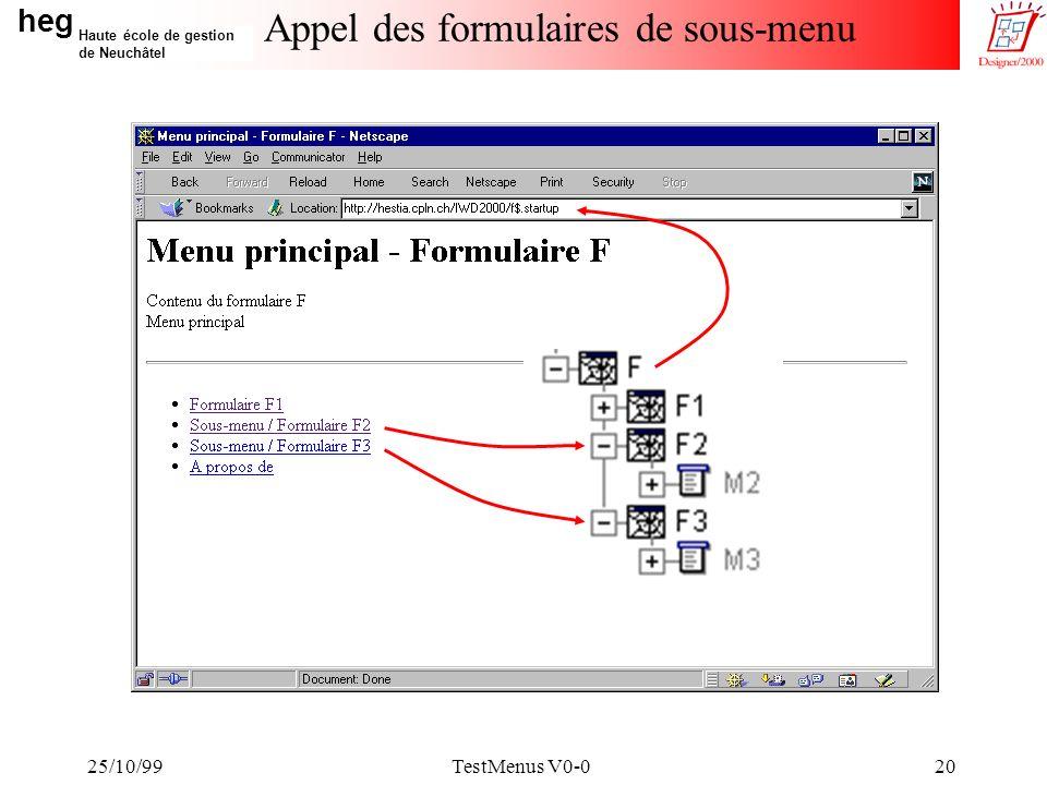 heg Haute école de gestion de Neuchâtel 25/10/99TestMenus V0-020 Appel des formulaires de sous-menu