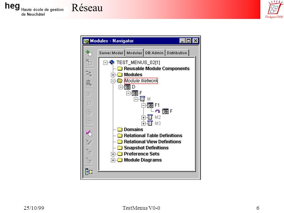 heg Haute école de gestion de Neuchâtel 25/10/99TestMenus V0-017 Diagramme du module F