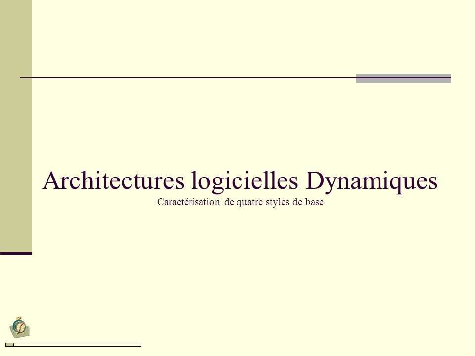 Architectures logicielles Dynamiques Caractérisation de quatre styles de base