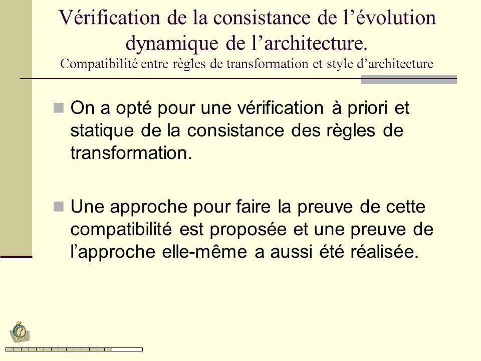 Vérification de la consistance de lévolution dynamique de larchitecture. Compatibilité entre règles de transformation et style darchitecture On a opté
