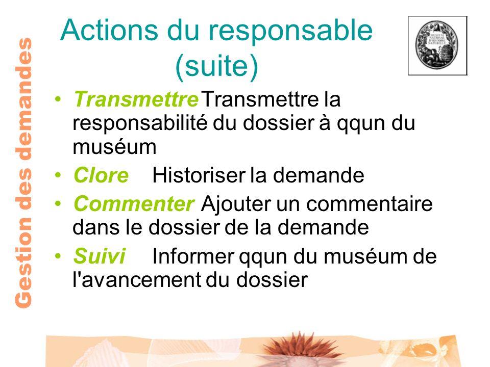 Gestion des demandes Actions du responsable (suite) TransmettreTransmettre la responsabilité du dossier à qqun du muséum CloreHistoriser la demande Co
