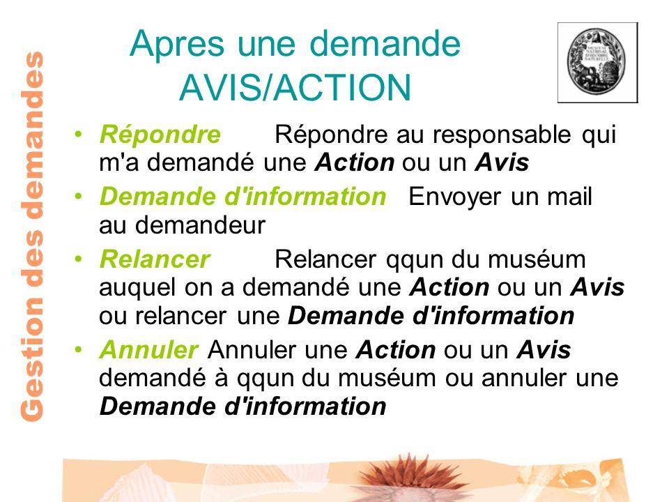 Gestion des demandes Apres une demande AVIS/ACTION RépondreRépondre au responsable qui m'a demandé une Action ou un Avis Demande d'informationEnvoyer