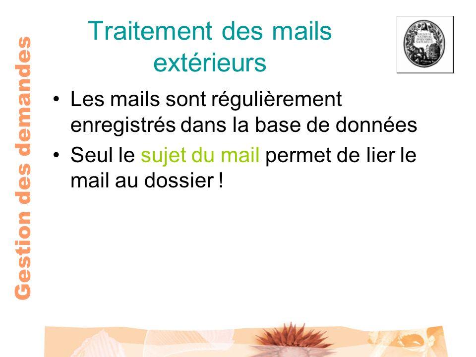 Gestion des demandes Traitement des mails extérieurs Les mails sont régulièrement enregistrés dans la base de données Seul le sujet du mail permet de