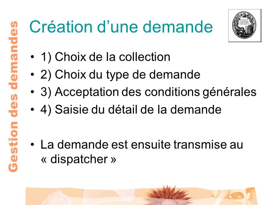 Gestion des demandes Création dune demande 1) Choix de la collection 2) Choix du type de demande 3) Acceptation des conditions générales 4) Saisie du
