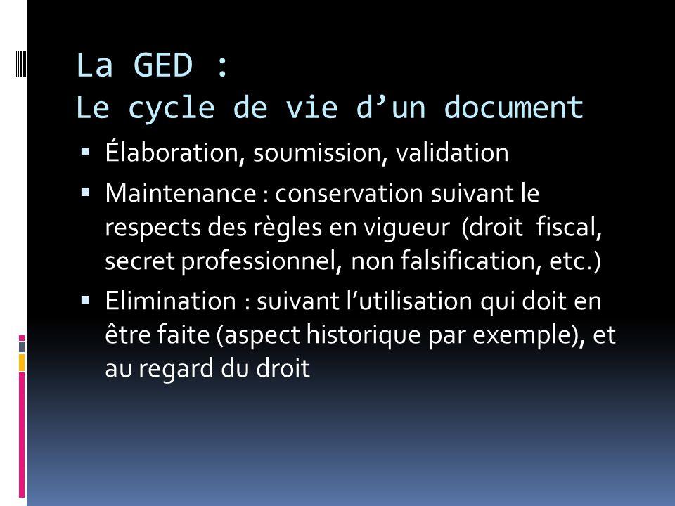 La GED : Le cycle de vie dun document Élaboration, soumission, validation Maintenance : conservation suivant le respects des règles en vigueur (droit