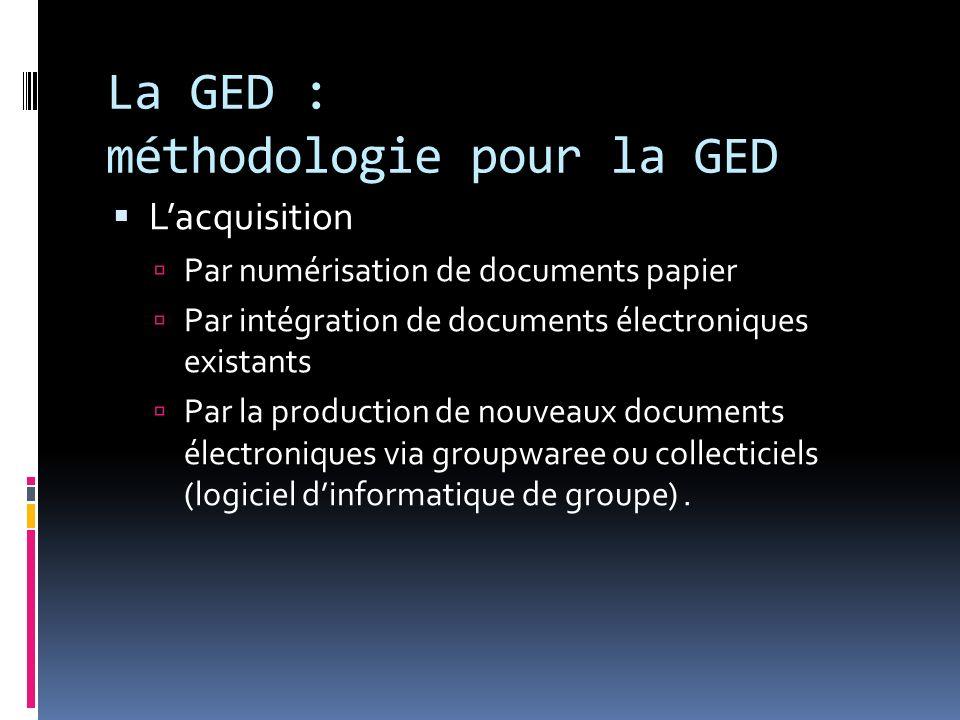 La GED : méthodologie pour la GED Lacquisition Par numérisation de documents papier Par intégration de documents électroniques existants Par la produc