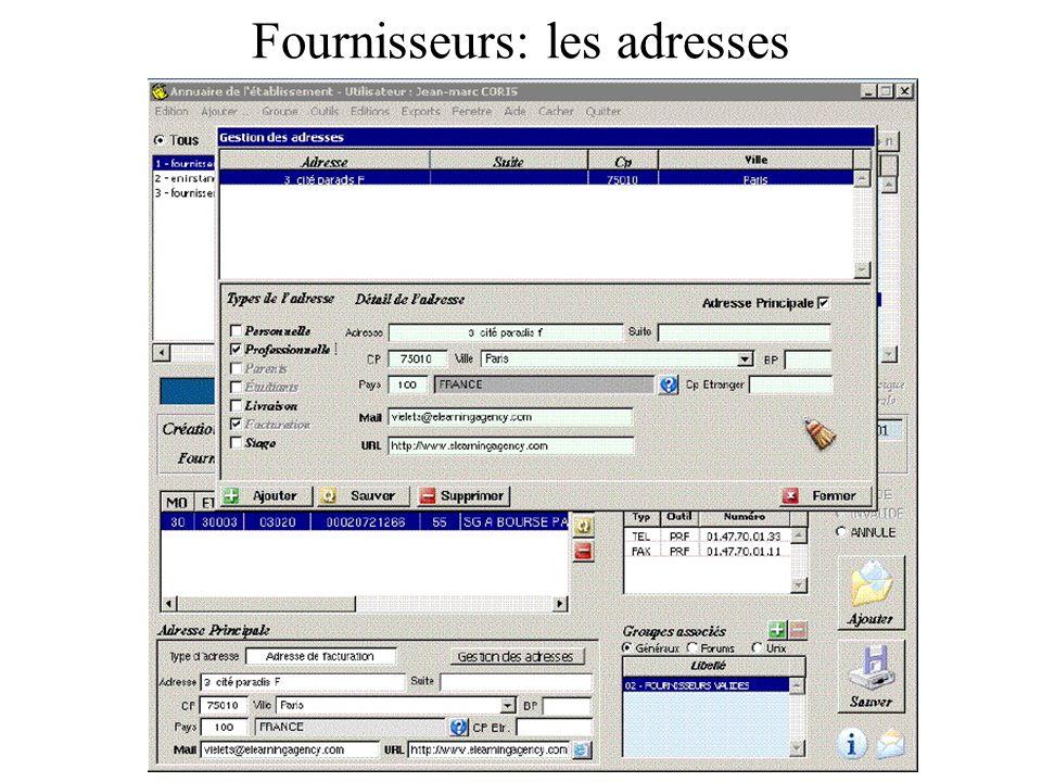 Exemple dun fournisseur Il est recommandé aussi de saisir les informations du type: Email, site web, téléphone, fax, contacts, … qui pourront être très utiles