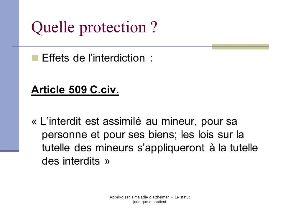 Apprivoiser la maladie d'alzheimer - Le statut juridique du patient Quelle protection ? Effets de linterdiction : Article 509 C.civ. « Linterdit est a