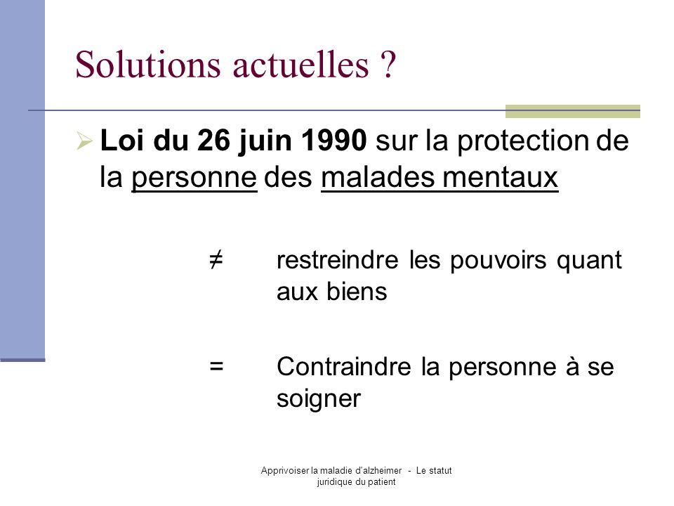 Apprivoiser la maladie d'alzheimer - Le statut juridique du patient Solutions actuelles ? Loi du 26 juin 1990 sur la protection de la personne des mal