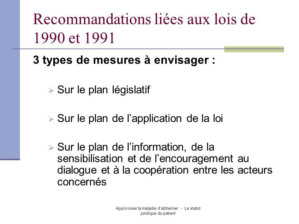 Apprivoiser la maladie d'alzheimer - Le statut juridique du patient Recommandations liées aux lois de 1990 et 1991 3 types de mesures à envisager : Su