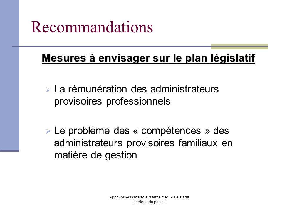 Apprivoiser la maladie d alzheimer - Le statut juridique du patient Recommandations Mesures à envisager sur le plan législatif La rémunération des administrateurs provisoires professionnels Le problème des « compétences » des administrateurs provisoires familiaux en matière de gestion