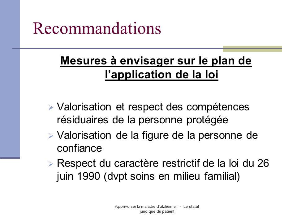 Apprivoiser la maladie d'alzheimer - Le statut juridique du patient Recommandations Mesures à envisager sur le plan de lapplication de la loi Valorisa