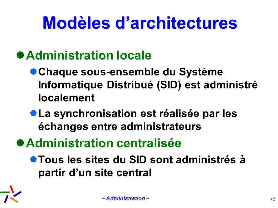 ~ Administration ~ 18 Modèles darchitectures Administration locale Chaque sous-ensemble du Système Informatique Distribué (SID) est administré localem