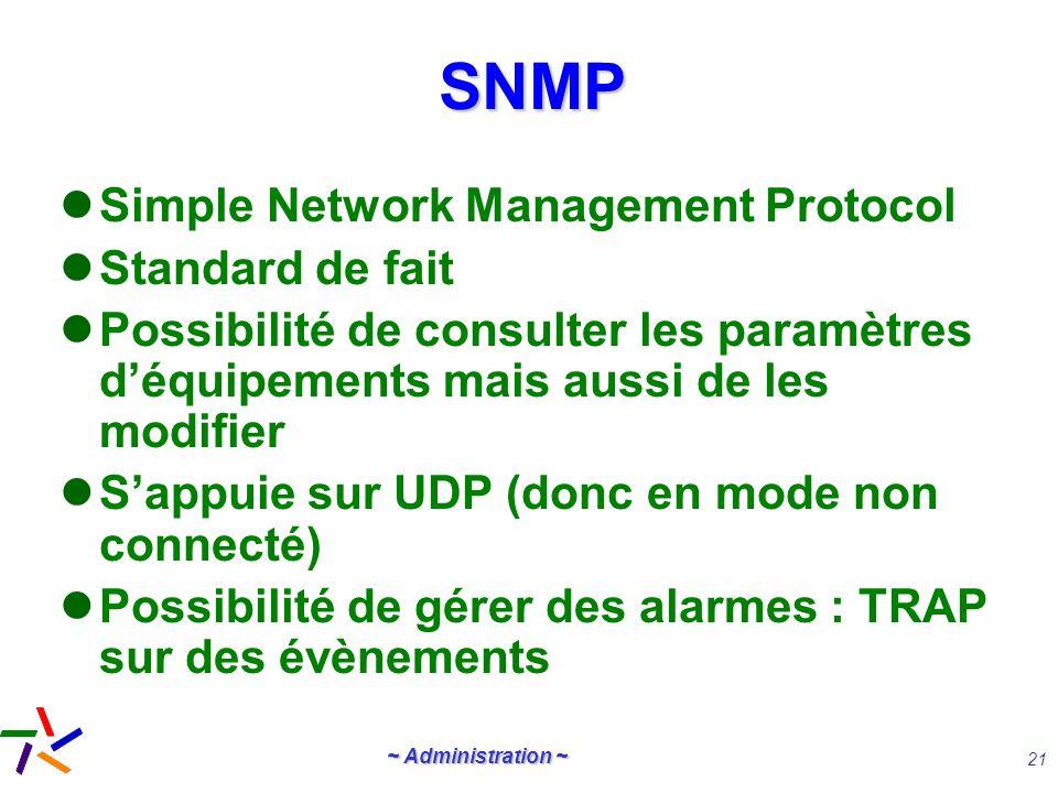 ~ Administration ~ 21 SNMPSNMP Simple Network Management Protocol Standard de fait Possibilité de consulter les paramètres déquipements mais aussi de
